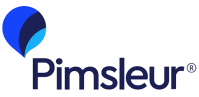 The Pimsleur logo. It has Pimsleur written in blue text with a speech bubble above it.