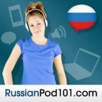 The RussianPod101 logo shows a girl listening to music through headphones. There is a speech bubble with the Russian flag, too. RussianPod101 is one of the best ways to learn Russian online by listening.