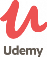 The Udemy logo. This is an education platform that offers a variety of courses, including courses to learn Arabic from different regions.